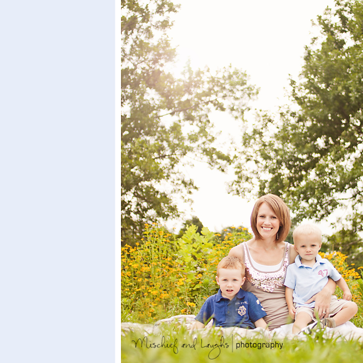 Mom takes as beautiful sunlit portrait with her boys