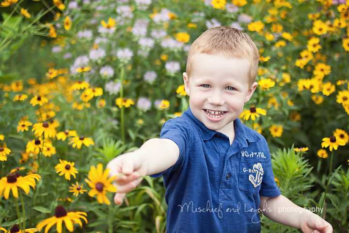 Child picking wildflowers as he has his picture taken