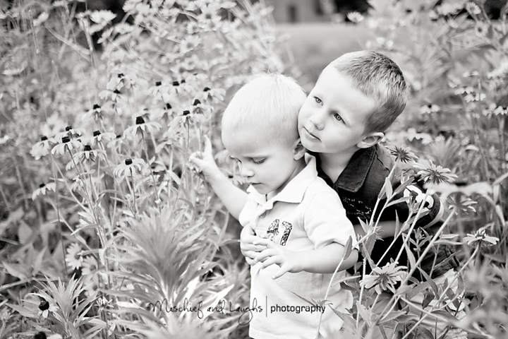 Brothers hugging in a field of Kentucky wildflowers at Boone Woods Park