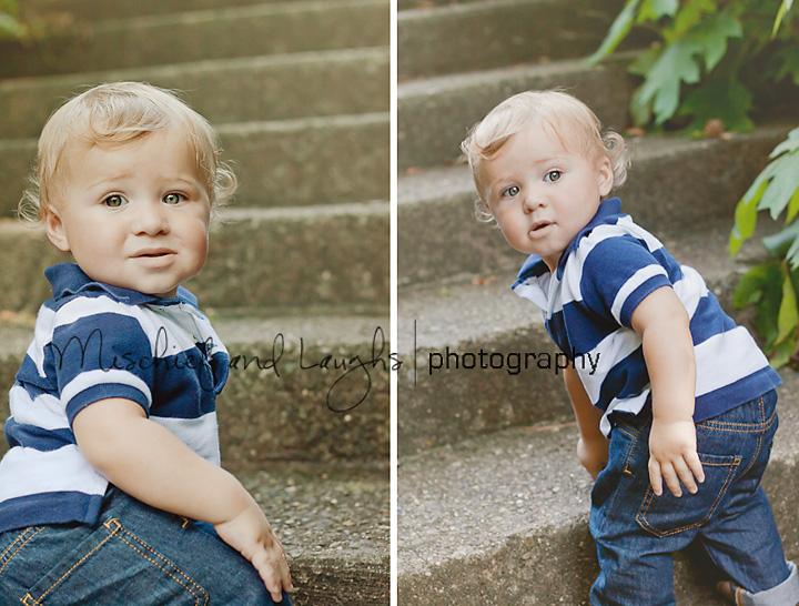 Curious Little boy climbs stairs