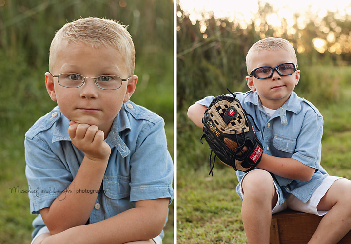 boy's five year pictures with baseball glove