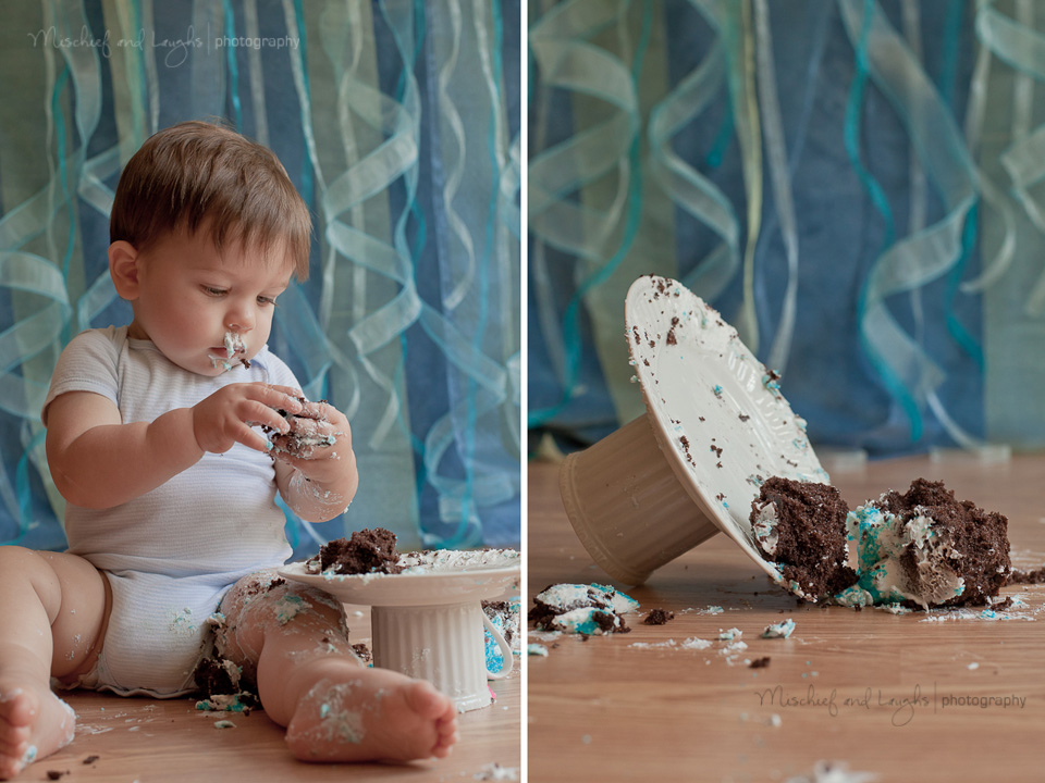 professional photography studio cake smash for baby