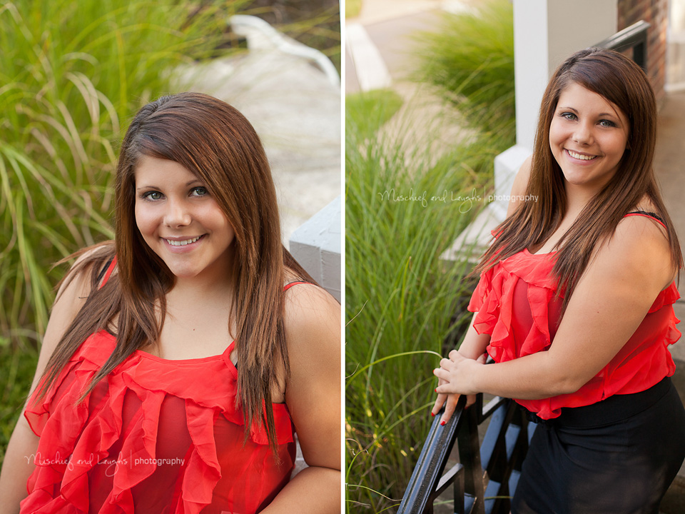 boone county high school senior girl in a red shirt