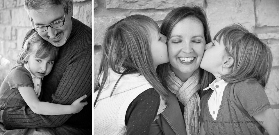 daughters spend some time loving on their parents