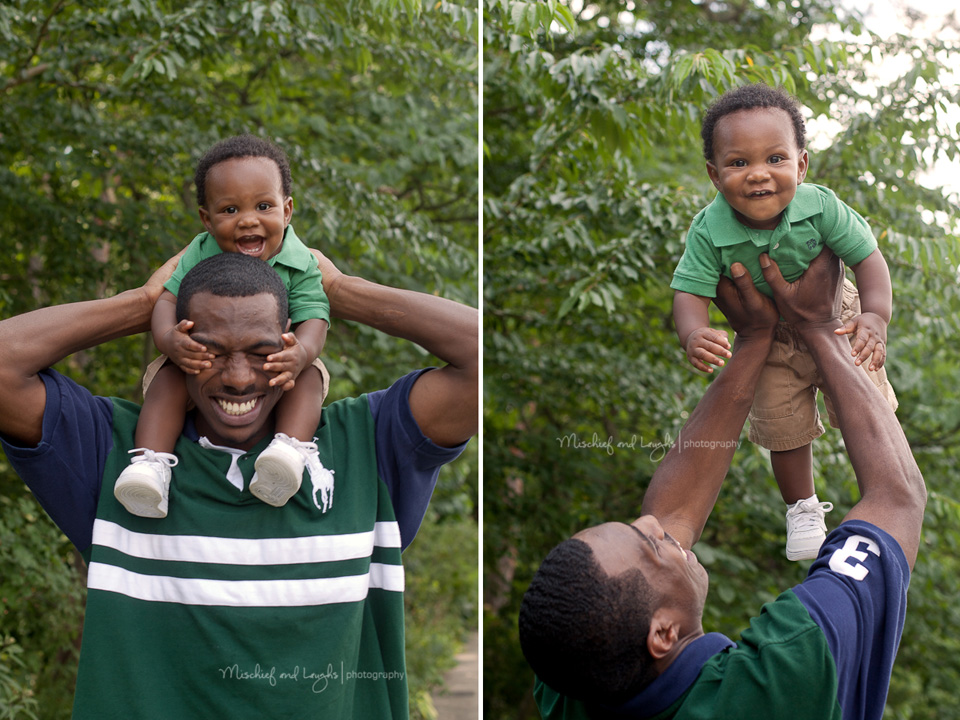 daddy and boy playing