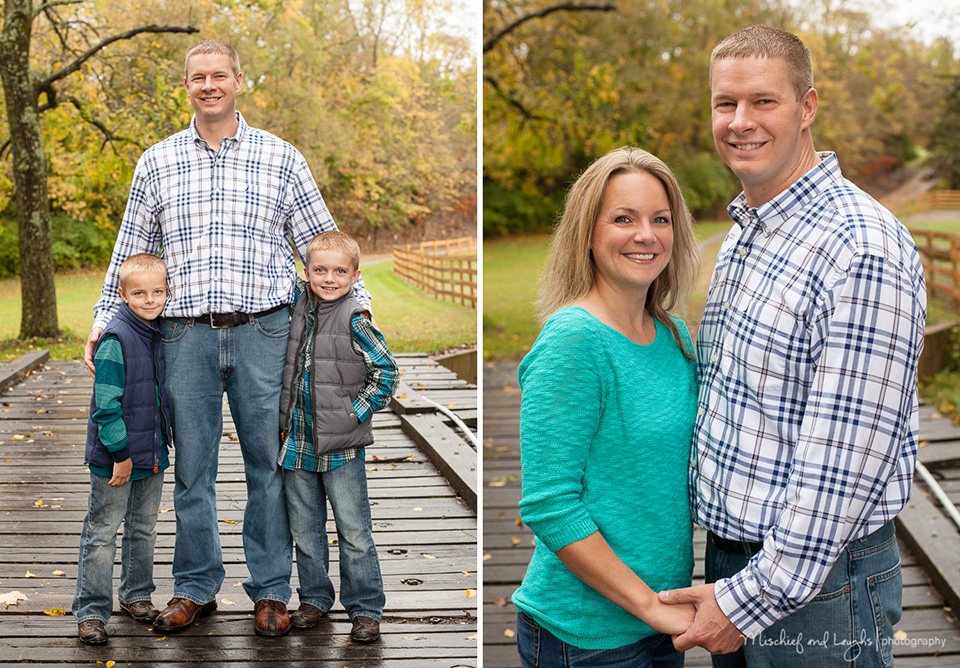 mom and dad hold hands during their family photo session at their home