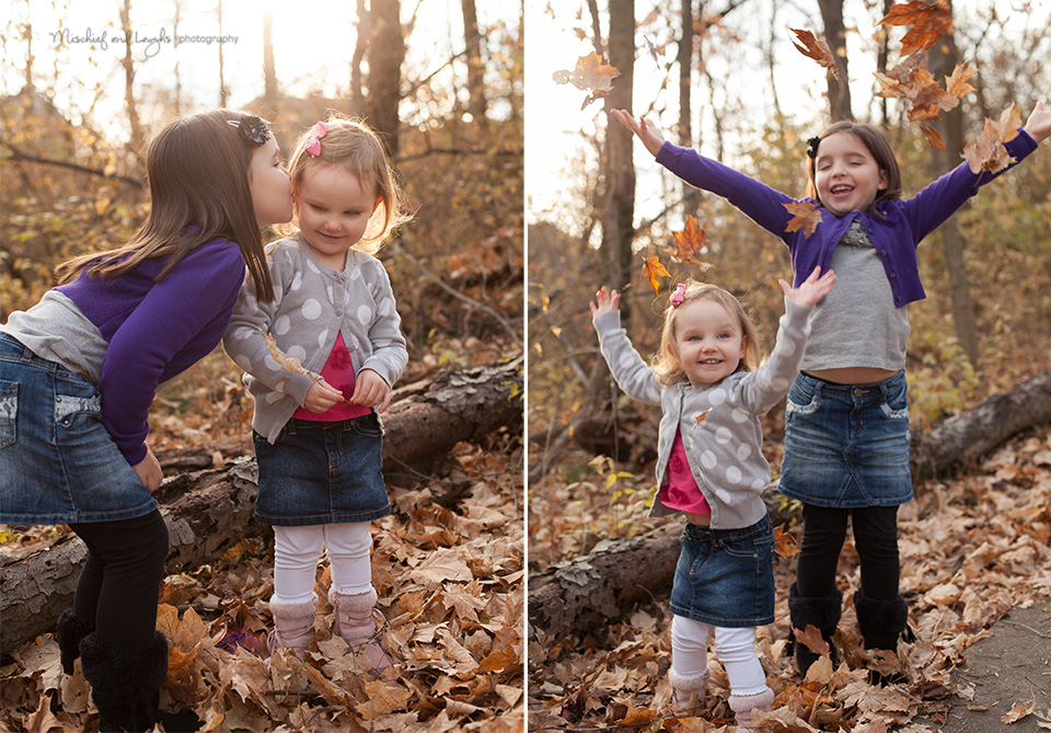 Children throwing leaves, Mischief and Laughs Photography, Cincinnati #child #photography