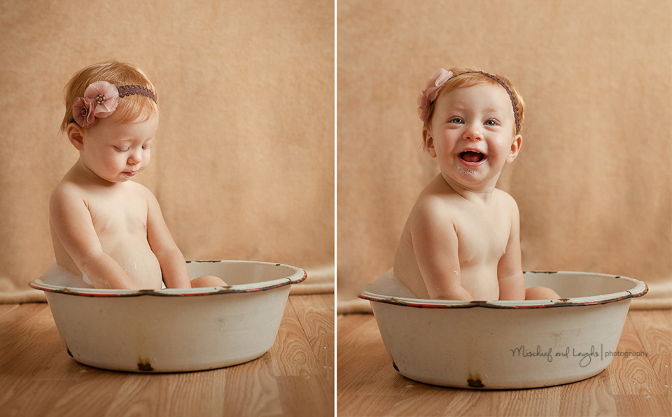 Baby pictures in a bubble bath, Mischief and Laughs, Cincinnati OH
