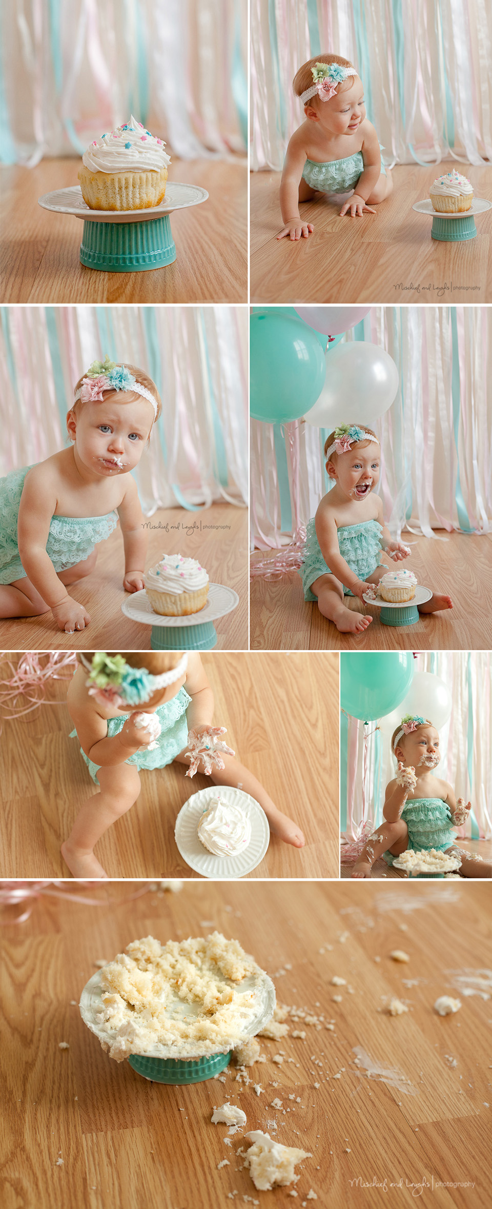 Pink and Teal Baby Girl Cake Smash, Mischief and Laughs, Cincinnati OH #cakesmash