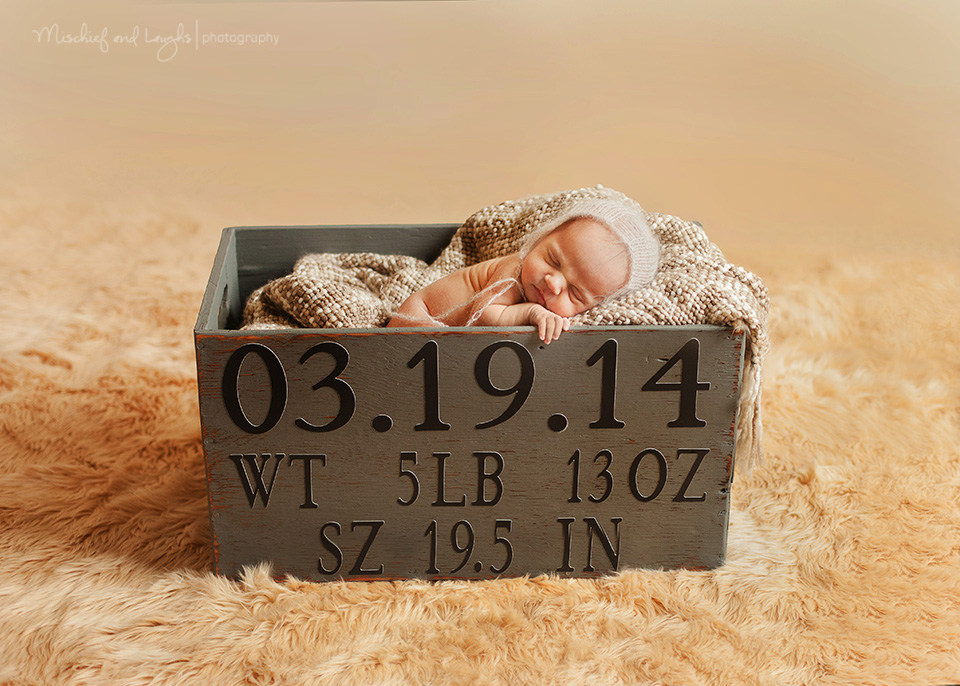 Custom box for newborn pictures, your baby's weight and birthdate. Mischief and Laughs Photography, Cincinnati OH