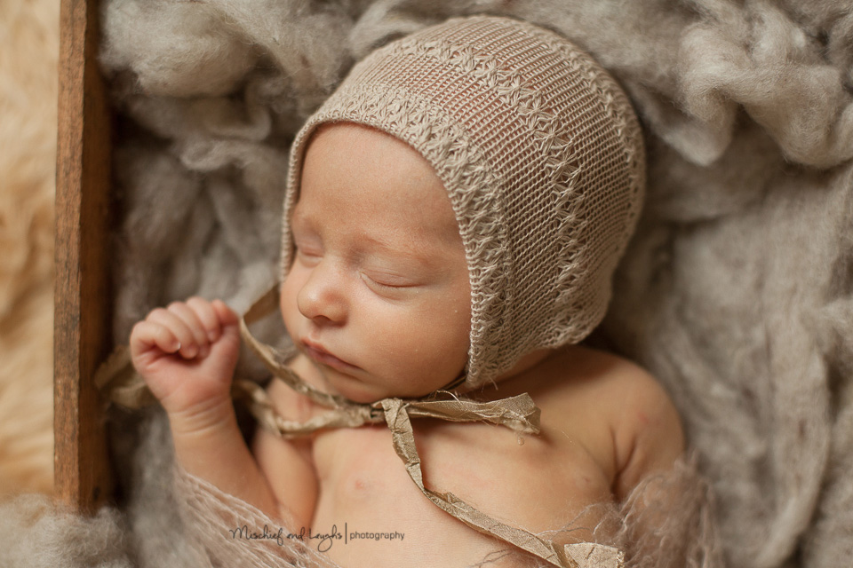 Sleeping newborn in a box, Cincinnati newborn photos, Mischief and Laughs