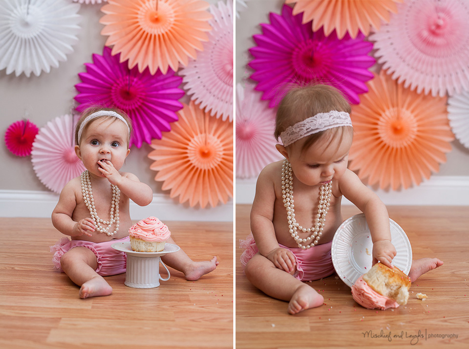 Photographer Babys First Birthday Cake Smash Pink And Coral Theme For Girl Mischief Laughs