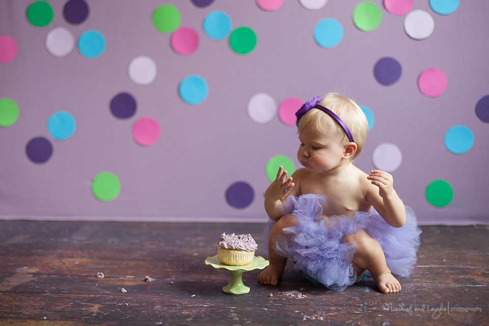 First birthday cake smash photos, Purple polka dots, Rochester baby photographer