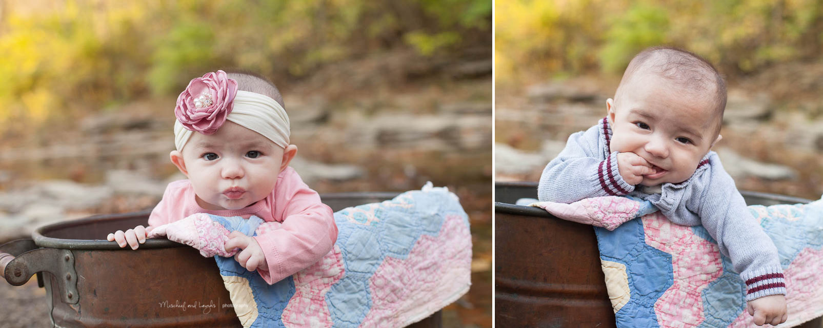4 month old twins, Canandaigua family photographer, Mischief and Laughs
