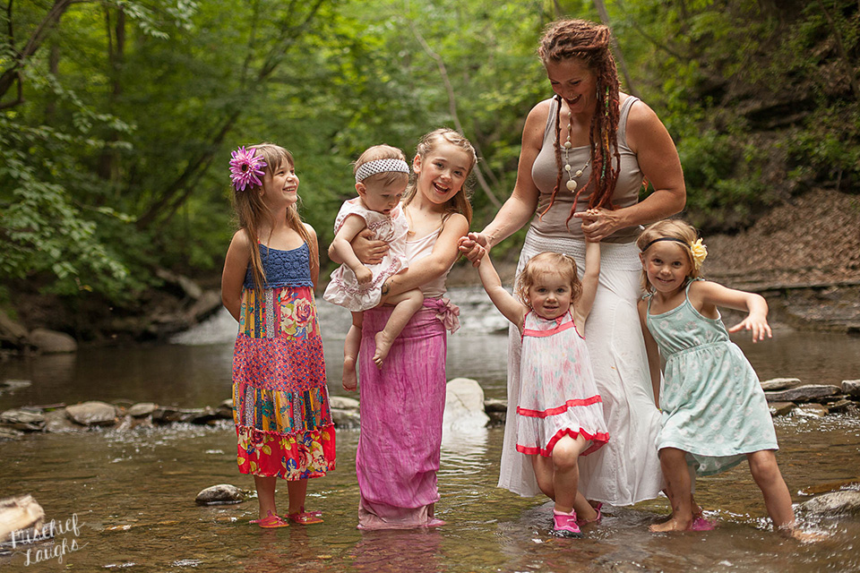 Finger Lakes family photographer, Outdoor photos in a creek