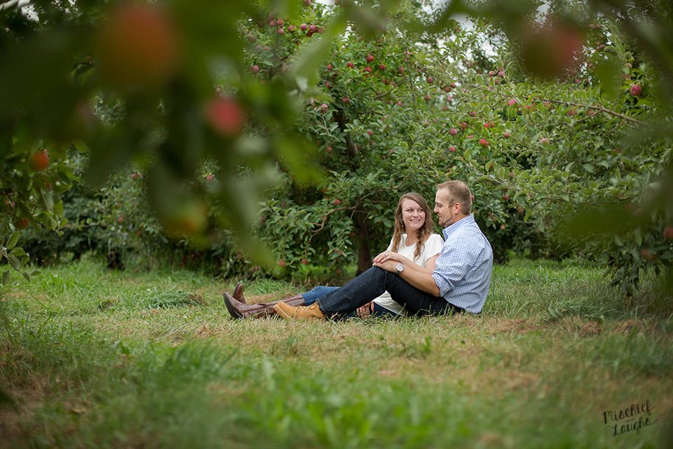 apple orchard engagement session, Sodus Point NY, Mischief and Laughs Photography