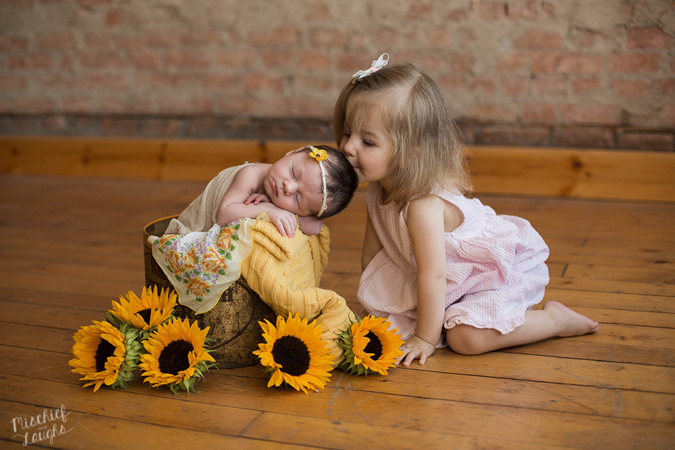 Sunflower Newborn Session, Rochester Newborn Photographer, Mischief and Laughs Photography
