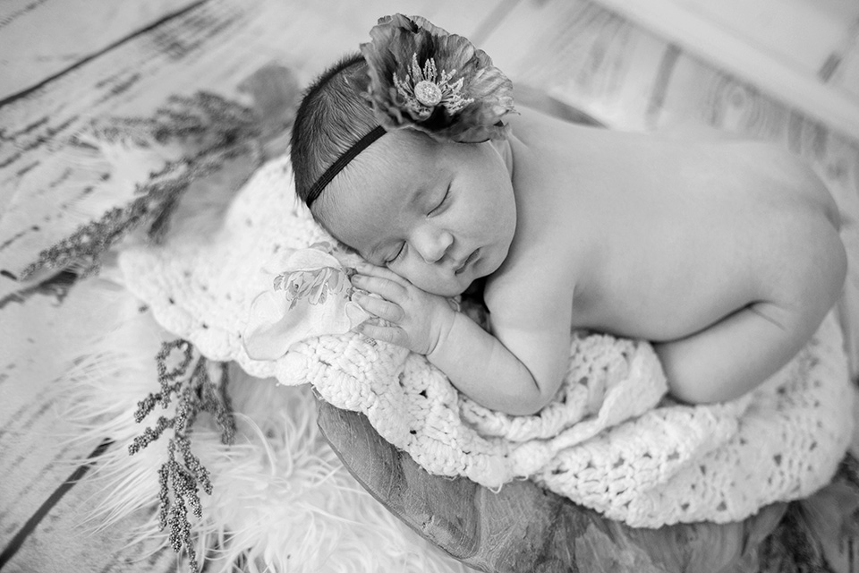 newborn baby on wooden bowl prop photos, Rochester Newborn Photographer, Mischief and Laughs Photography