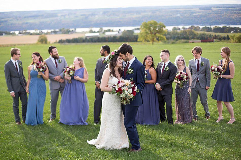 Wedding Party overlooking the Seneca Lake, Logan Ridge Estates Wedding, Finger Lakes Photographer