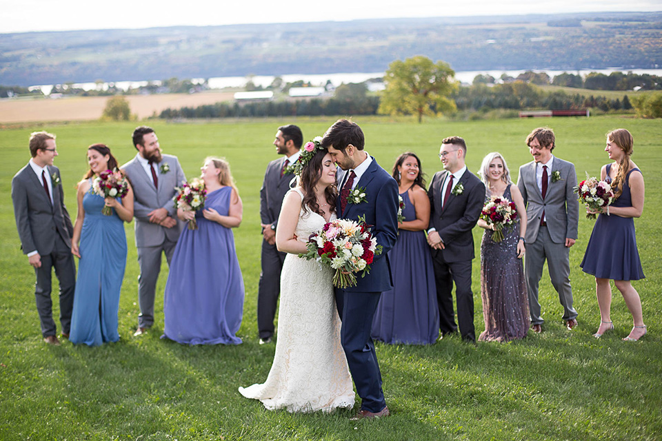 Wedding Party overlooking the Seneca Lake, Logan Ridge Estates Wedding, Finger Lakes Photographer