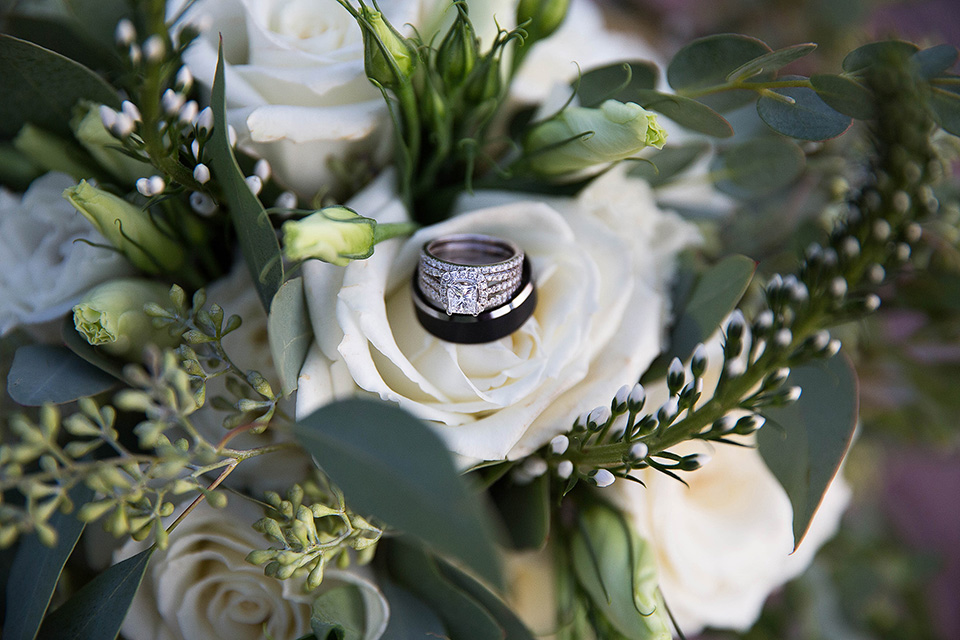 Rings and green flowers, roses eucalyptus and chrysanthemum farmhouse bouquets, Wedding Photographer in the Finger Lakes