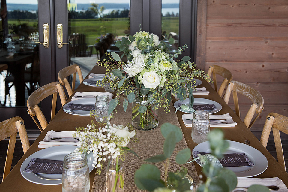 green centerpieces, eucalyptus and chrysanthemum farmhouse bouquets, Wedding Photographer in the Finger Lakes