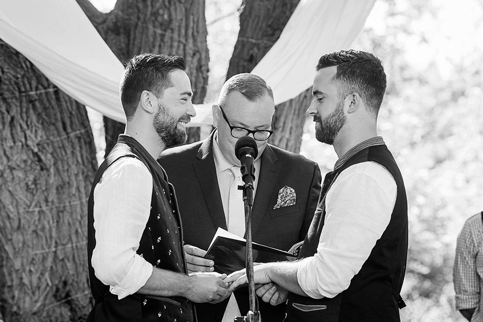 Same sex wedding ceremony, groom in tears, Cincinnati Wedding photographer