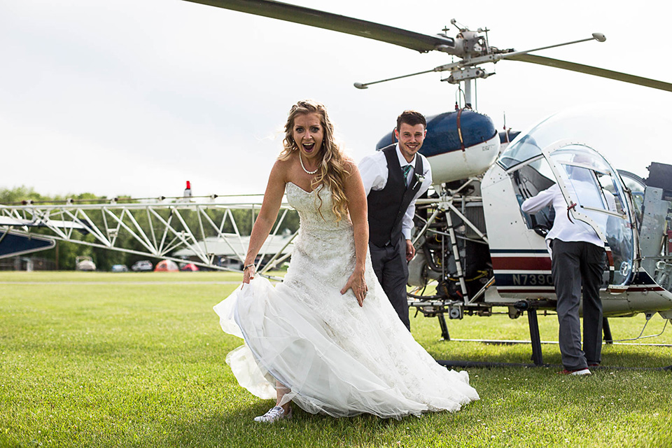 Helicopter wedding, Cincinnati Documentary Wedding Photos