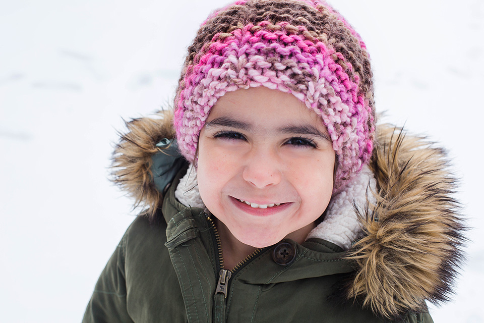 snow portrait of a young girl