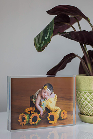 Professional newborn photography display ideas - acrylic desk print