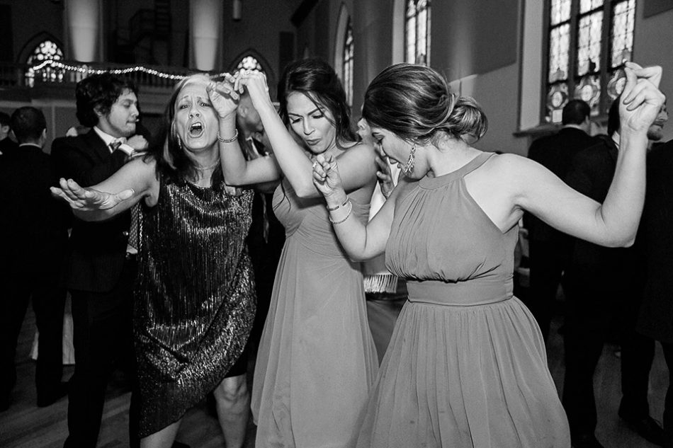 bridesmaids dancing at the reception