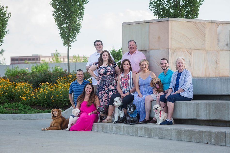 extended family pictures with dogs, Blue Ash Summit Park in Cincinnati OH