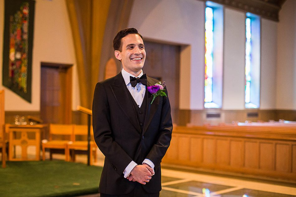 groom sees bride for the first time, St Clare church Cincinnati