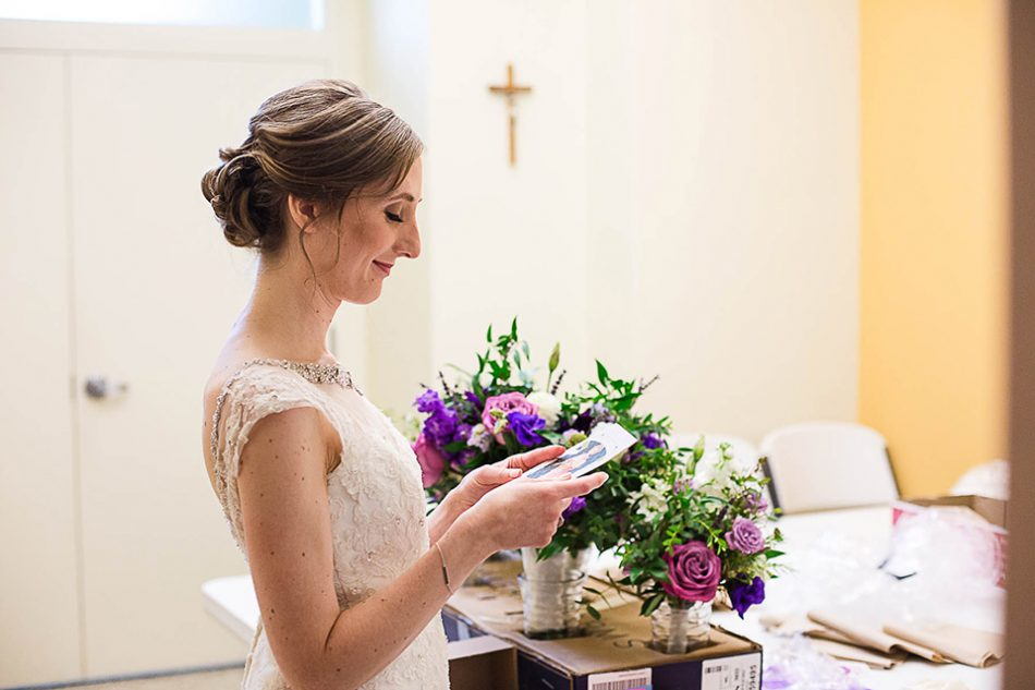 bride reads letter from her groom