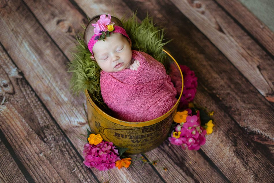 Baby with flowers, Loveland OH Newborn Photographer