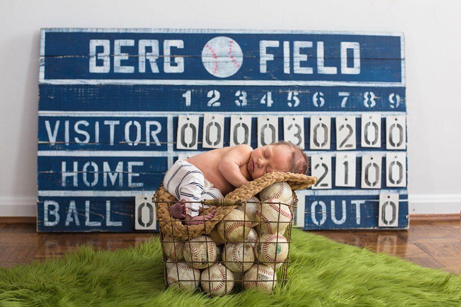Baseball themed newborn pictures, Cincinnati Newborn Photographer